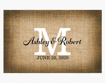 "Rustic Wedding Paper Placemats | Printed Burlap Paper Placemats Book of 25 17"" x 11"" inches Tear-Off Pad Of Card Stock Paper"