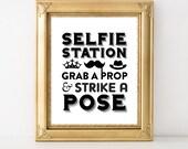 INSTANT DOWNLOAD selfie station sign / wedding photobooth sign / printable photobooth sign / photobooth printable / Selfie Station sign
