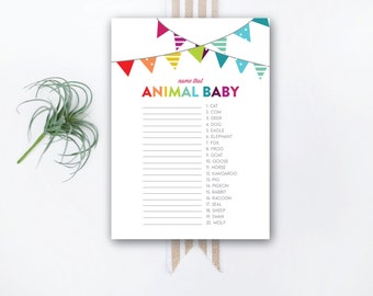 INSTANT DOWNLOAD printable baby shower game / animal baby game / animal matching game / #VC103