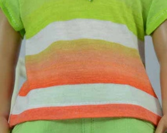 American Girl or 18 inch Doll TEE Top Blouse SHIRT Lime Green Orange White Stripes GO1 Shorts and Sandals Options with Surprise NECKLACE