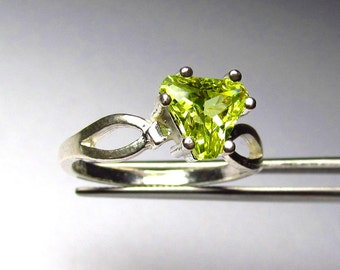 CLEARANCE  Striking Lemon Lime Topaz Trillion in Sterling Silver Ring