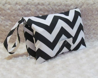 Black & White Chevron Diaper and Baby Wipe Clutch for Huggies, Pampers Wipes