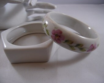 Two Porcelain/Ceramic Bangle Bracelets-1- Circle Bangle With Painted Flowers-  1 Hexagon Clear Gloss Bangle