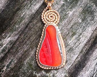 Sea Glass necklace, amberina sea glass necklace, bezel set in argentium silver and gold fill, bermudian sea glass, rare, Eco friendly