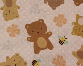 Woodland Fabric by the Yard, Quilt, Bear, Nursery, Baby, Girl, Pink, Yellow, Brown, Blush, Cotton, Floral, Bumble, Bee, Childrens, Decor