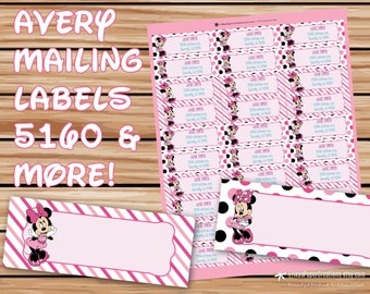 Minnie Mouse Editable Mailing Labels Avery 5160 Template INSTANT DOWNLOAD