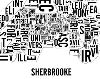 Sherbrooke City Map - Sherbrooke Art - Sherbrooke Poster - Typography Map