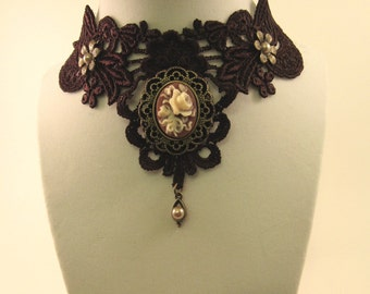Brown Lace Victorian Style Choker