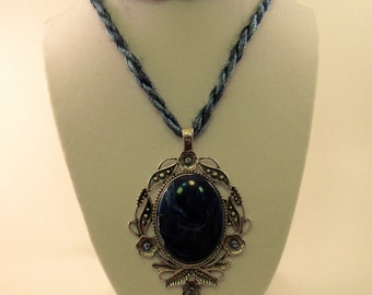 Blue Stone and Antique Silver Color Pendant, Double Necklace