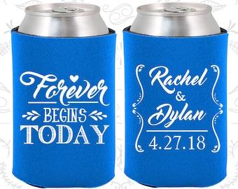 Forever Begins Today, Wedding Ideas, Vintage Wedding Favors, Love Wedding Favors, Romantic Wedding Favors, Wedding Beer Coolie (386)