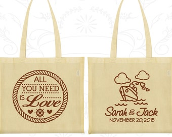 All you need is love Bags, Wedding Favor Welcome Bags, Cruise Wedding Bags, Nautical Bags, Personalized Tote (529)