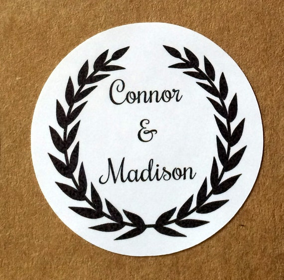 Round Wedding Invitation Label 1: 20 Personalized Labels Gift Stickers Gift Tags Wedding