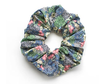 CHERRIES . Cute scrunchy with cherries and flowers.  Blue and green. Retro Accessory.