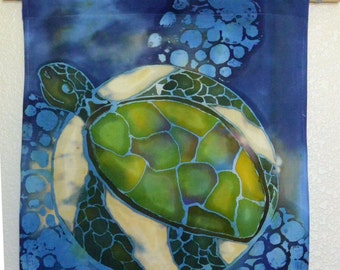 "Handmade Batik Tapestry ""Turtle View"" Made to order"