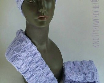 Basket Weave Knitted Hat and Fingerless Mitts