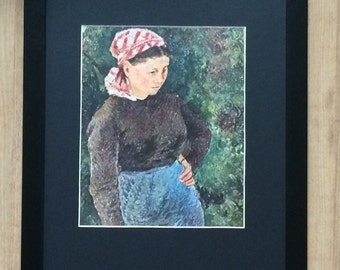 """Framed and Mounted Peasant Women Print by Camille Pissarro 16"""" x 12"""""""