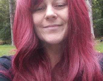 Red Wig, side swept Bangs, Flowing, long, dark red wig, burgundy wig, Poison Ivy wig, adjustable heat safe, wavy, natural looking, synthetic