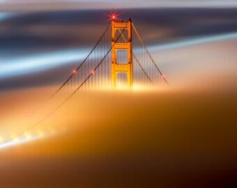 San Francisco Golden Gate Bridge Photo Print in Beautiful San Francisco Fog - California Home Photography Art - Yellow, Orange, Red and Blue