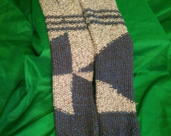 Knitted Leg Warmers, Blue and Grey s, Absract Shapes