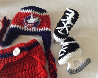 Columbus Blue Jacket -Baby Crochet Hockey Earflap Hat, Diaper Cover, and Skate Booties .