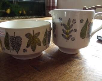 1960s sugar bowl and milk jug, great leaf design