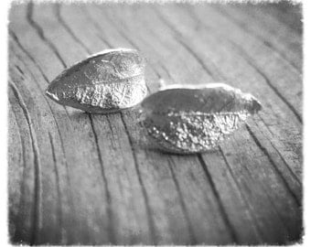 Silver Leaf Earrings, Cast Silver Leaf Posts, Little Silver Studs, Botanical Jewelry