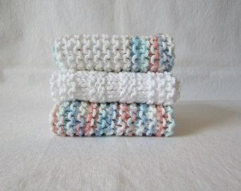 Set of 3 Robin's Egg Blue, Peach & White  Hand Made Wash Cloths