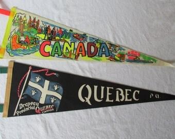 Pair of Vintage 1960's  Canada Pennants