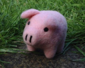 Pink pig needle felted handmade wool
