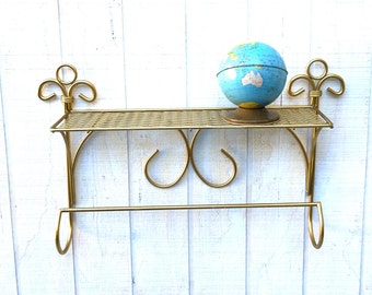Mid Century Gold Metal, Wall Shelf With Towel Bar