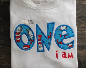 "Dr Seuss - Cat in the Hat ""One i Am"" 1st birthday applique shirt"