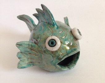 Turquoise Ceramic Raku Big Mouth Fish
