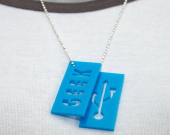 GEEK & USB Dog Tags, On Ball Chain Necklace. Geeky Jewellery, Nerd