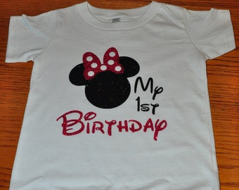 Custom Disney Family Birthday Shirt, Mickey Mouse Minnie Mouse Inspired with Glitter option Available Personalized