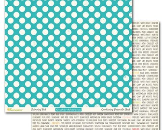 """October Afternoon Summertime Collection, 12"""" X 12"""" Pattern Paper, Swimming Pool, Summer Theme Scrapbook and Paper Craft"""