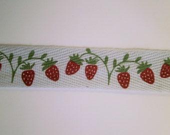 "1 m printed Cotton Ribbon ""Strawberry"" 15 mm w"
