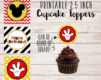 Printable Mickey Cupcake Toppers - Printable Party Circles - Party Decorations - Cake Decor - Instant Download