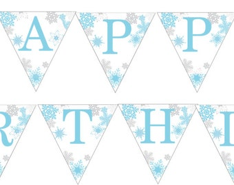 Happy Birthday Snowflake Banner- blue and grey- INSTANT DOWNLOAD