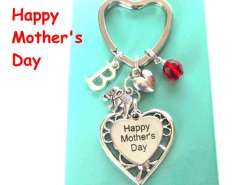 Happy Mother's Day keyring - Gift for Mum - Elephant keyring - Personalised Mother's Day gift - Mum gift - Birthstone keyring - Etsy UK