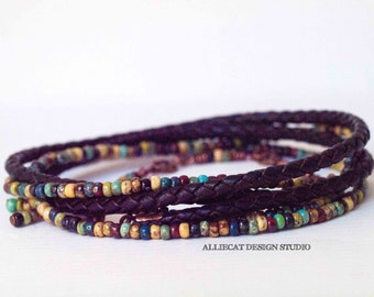 Boho Bracelet, Bohemian Bracelet, Inara Dark Brown 3x Wrap Bracelet