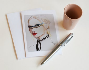 Greeting card illustration graphic women's fashion
