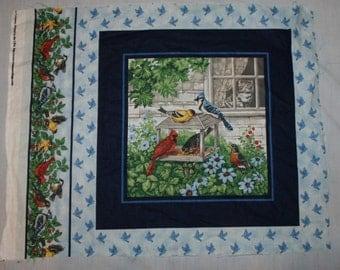 "Cranston Village Pillow Fabric Panel Birds on Feeder Cat in Window 1 Panel Only 18"" x 22 1/2"""