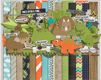 Dino Roar - Papers & Elements for Digital Scrapbooking