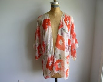 Vintage Hand Painted Dory Coffee Poppy Silk Chiffon Tunic