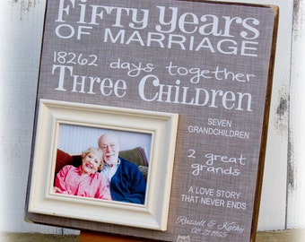 50th Anniversary Gift, Golden Anniversary, Fifty Years of Marriage Picture Frame, Grandparent Gift 16 X 16