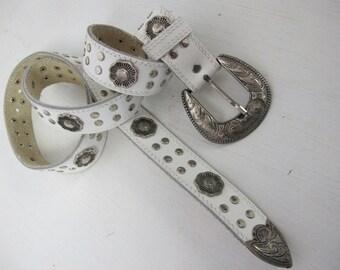 Cowgirl Belt Silver Belt 1970 Western Belt White Cowboy Belt Studs J Nordstrom