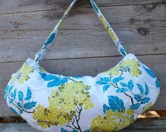 Floral Fabric Purse, Yellow hydrangea Flower with Teal Leaves, Cotton Sateen Shoulder Bag, Floral Purse, Cloth Purse, Hobo Bag, Zipper Top
