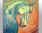 Abstract Art, Large Canvas Painting, Horse Artwork, Contemporary Art, Coffee Wall Art, Bedroom Wall Decor, Abstract Canvas Art, Original Art