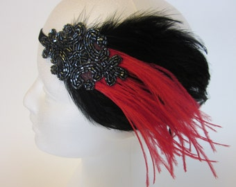 GREAT GATSBY Hair accessories Red feathers Black Party Art Deco headpiece  Ostrich Gray Fascinator Charleston Dress Valentine's Day