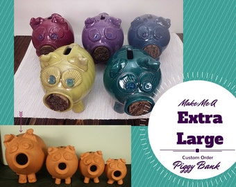 Custom handmade piggy bank, piggy bank for girls, piggy bank for boys, pottery piggy bank, ceramic piggy bank girls piggy bank